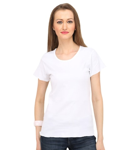 Women's White Round Neck T-Shirt Half Sleeve