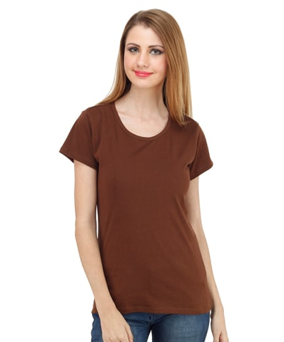 Women's Chocolate Round Neck T-Shirt Half Sleeve