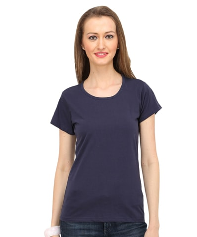 Women's Navy Round Neck T-Shirt Half Sleeve