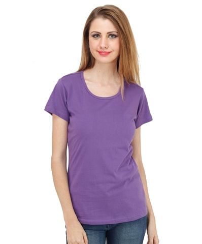 Women's Purple Round Neck T-Shirt Half Sleeve