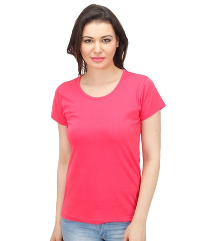 Women's Fuchsia Round Neck T-Shirt Half Sleeve