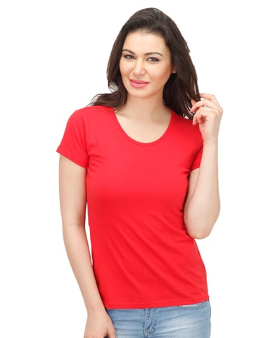 Women's Red Round Neck T-Shirt Half Sleeve