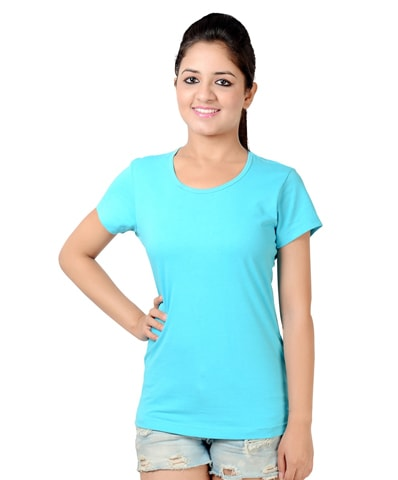 Women's Turquoise Round Neck T-Shirt Half Sleeve