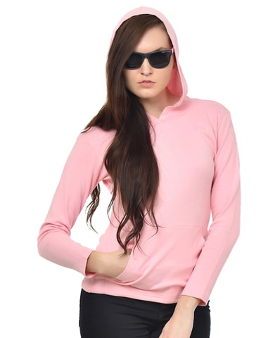 Women's Pink Hooded T-Shirt Full Sleeve