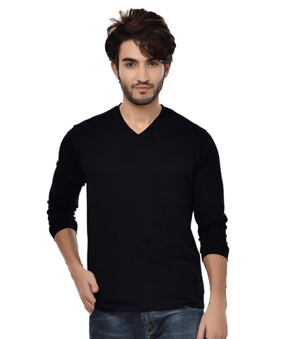 Men's Black V-Neck T-Shirt Full Sleeve