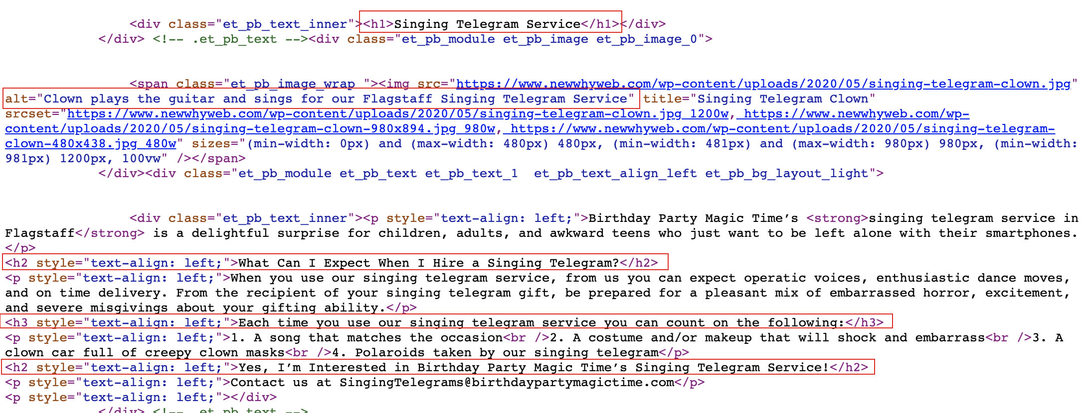 screenshot of HTML code for SEO to see where H1, H2, H3 tags and alt text are