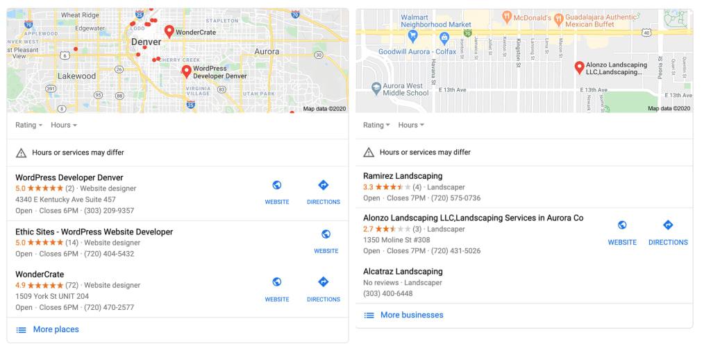 google map results for web developer and landscaper
