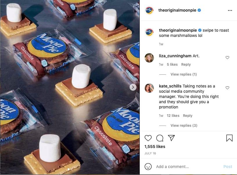 moon pie instagram screen shot | social media websites seo for nonprofits small businesses