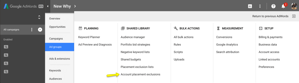 Screenshot of excluding sites from your Google Adwords advertising