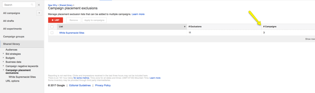 Checking exclusions adwords