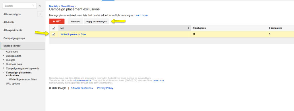 step by step exclusion adwords