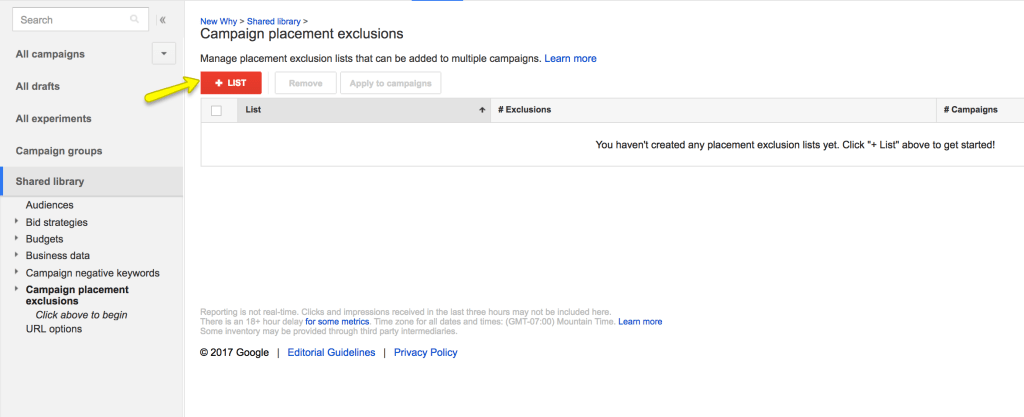 Exclusion list in Adwords for racist sites