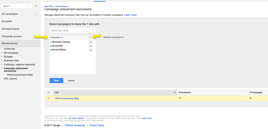 adwords exclusion lists