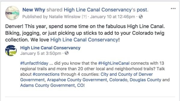 High Line Canal Social Media
