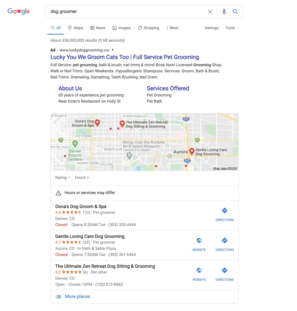 Google search results showing a map of dog groomers
