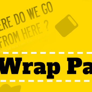"""A graphic for the Wrap party, with elements from the film poster and a headline saying """"WRAP PARTY"""""""