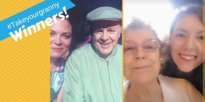 2 selfies of grandparents and grandchildren, with the text #takeyourgranny Winners!