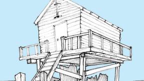 Blue hut print