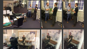 The team get together to shoot a crowdfunding pitch video