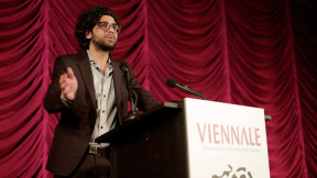Kaweh speaks to the audience when receiving the FIPRESCI award at the Venice film festival