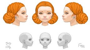 Frank's original designs for Celia the main character Chris's Sister.