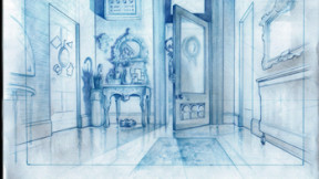 Original concept drawing of the hallway done to get an understanding of the size and feel for this scene