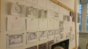 An early shot of the storyboard layout as we were working on the flow of the story.