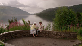 Dierdre Murray and Lucy-Jane Quinlan on location in Loch Lomond for the feature film Where Do We Go From Here?