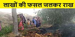 औरंगाबाद : खलिहान में लगी भीषण आग, लाखों की फसल जलकर राख