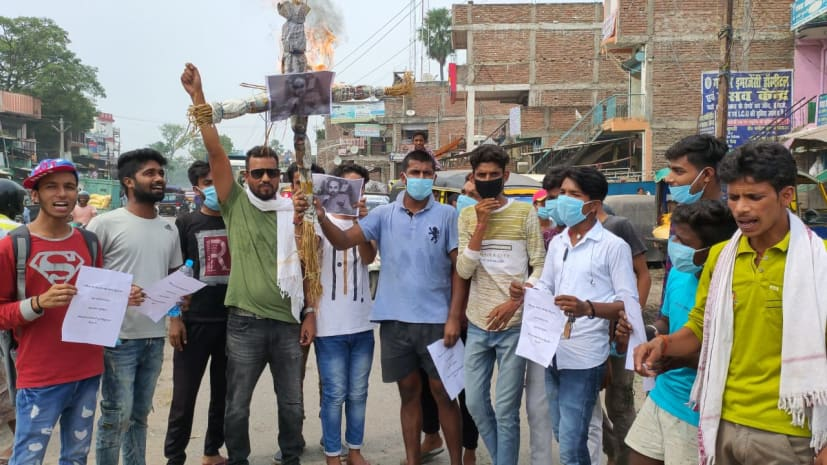 बिहार में जला उद्धव ठाकरे का पुतला, बीजेपी ने कहा- तानाशाही नहीं चलेगी