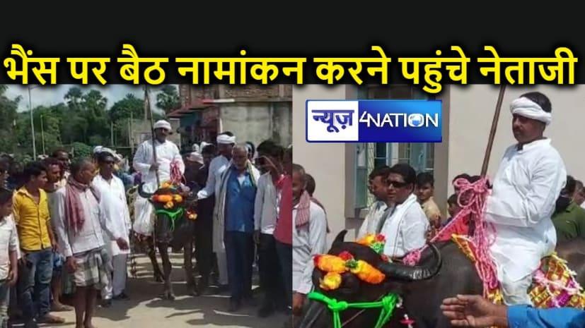 बिहार पंचायत चुनाव : मंहगी गाड़ी के लिए नहीं थे पैसे तो नामांकन के लिए भैंस पर सवार होकर पहुंच गए नेताजी, लोगों की जुट गई भीड़