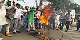 राजद समर्थकों पर हुए लाठीचार्ज के विरोध में युवा राजद ने किया सीएम नीतीश का पुतला दहन