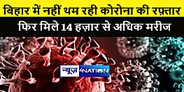 बिहार में नहीं थम रहा कोरोना का रफ़्तार, फिर मिले 14,836 मरीज, एक्टिव मरीजों की संख्या हुई एक लाख के पार