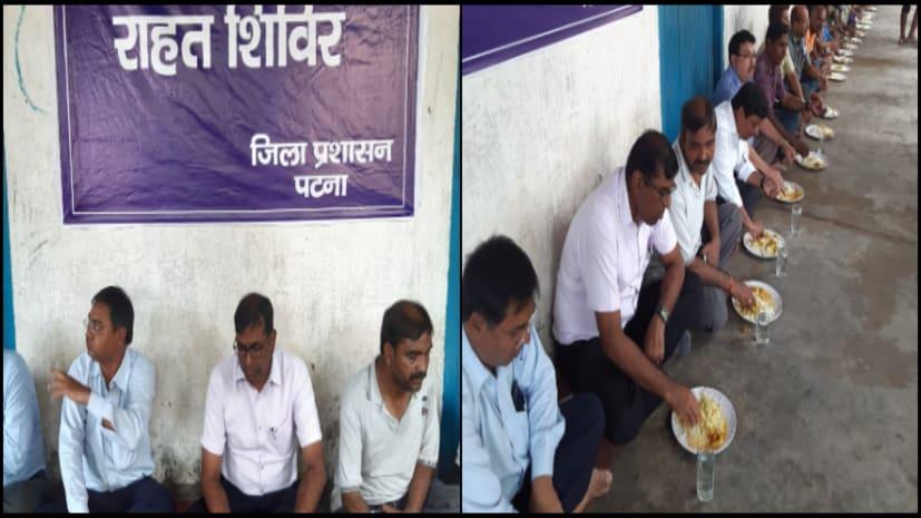 पटना के डीएम ने किया बाढ़ प्रभावित पुनपुन में राहत और बचाव कार्य का निरीक्षण, कॉम्युनिटी किचन में खुद भी खाया खाना