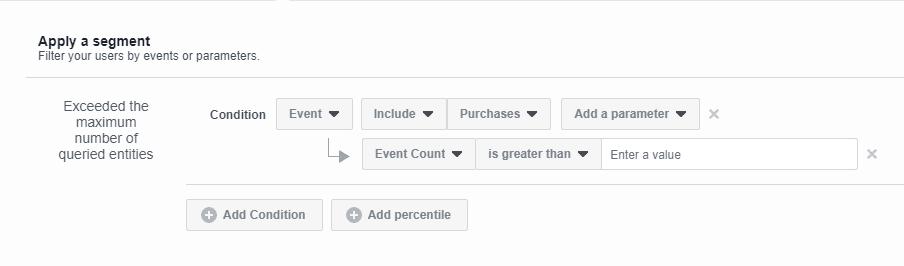 facebook analytics segmenty zakup