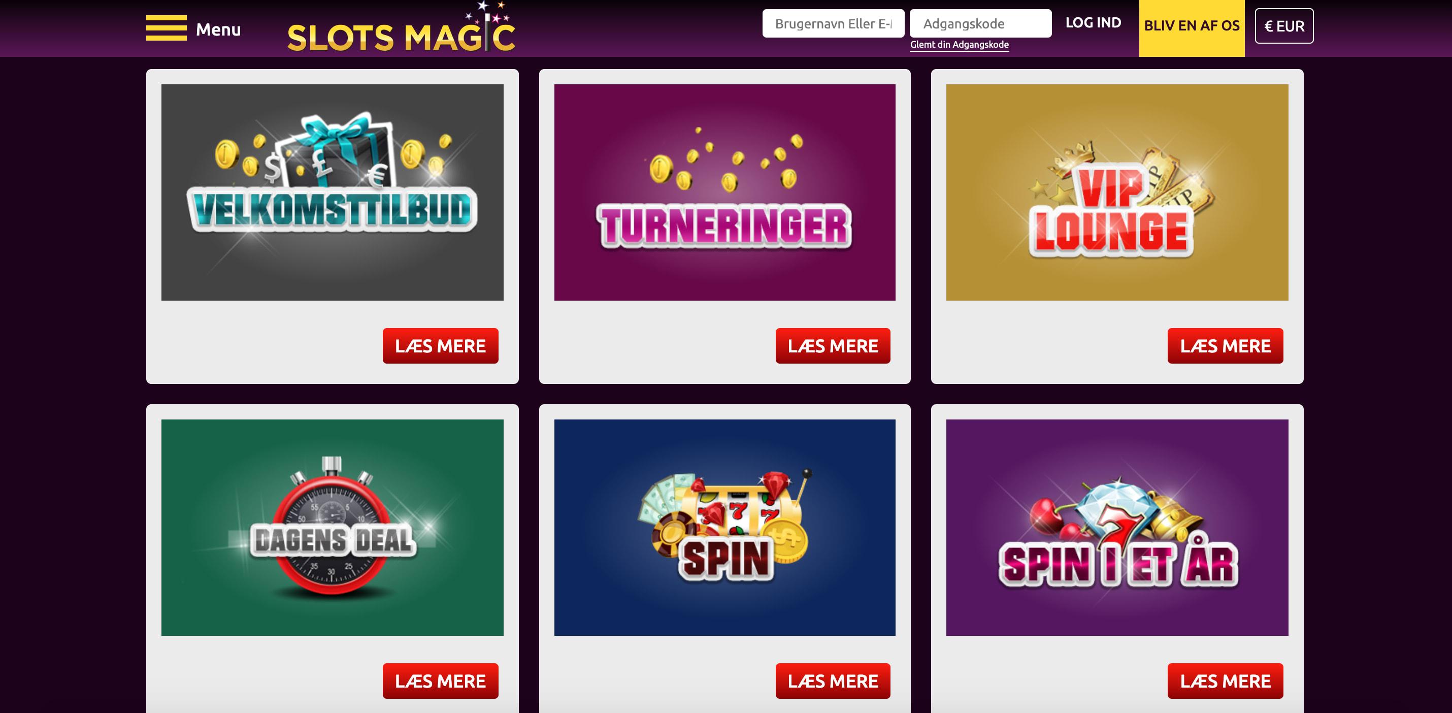 Tilbud og bonusser online casino SlotsMagic.dk