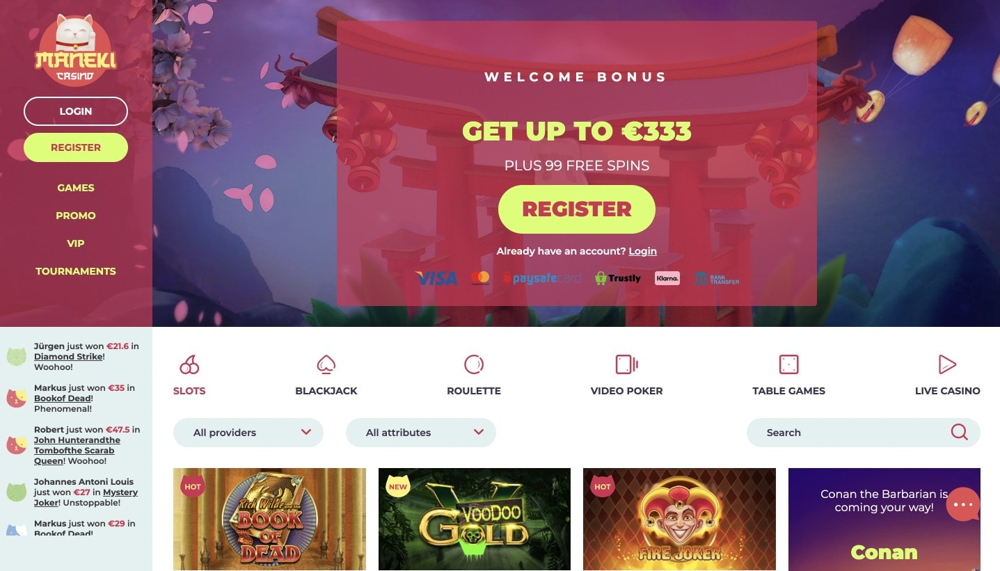 Maneki Casino Home Page