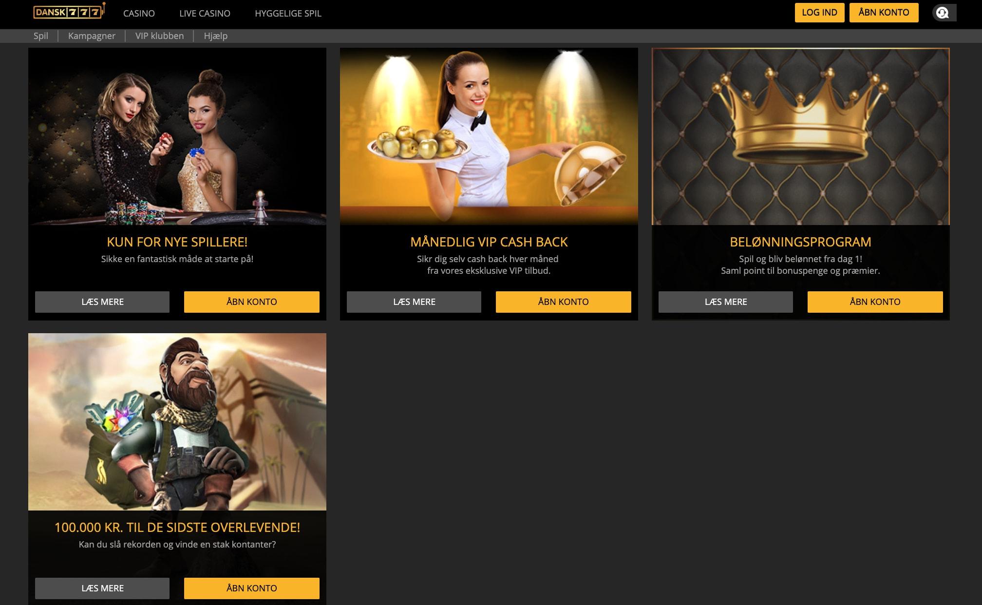 Tilbud og kampagner på online casino Dansk777.dk