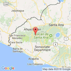 Localización de Apaneca en Ahuachapán