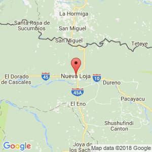 Localización de Nueva Loja en Sucumbíos