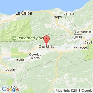 Localización de Olanchito en Yoro