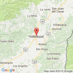 Localización de Valledupar en Cesar
