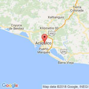 Localización de Acapulco de Juárez en Guerrero