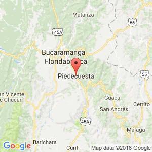 Localización de Piedecuesta en Santander