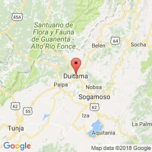 Localización de Duitama en Boyacá