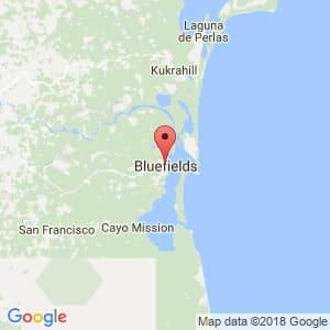 Localización de Bluefields en Atlántico Sur