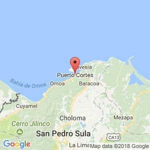 Localización de Puerto Cortés en Cortés