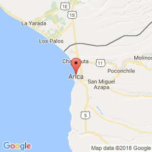 Localización de Arica en Arica y Parinacota