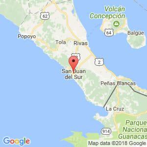 Localización de San Juan del Sur en Rivas