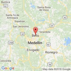 Localización de Bello en Antioquia
